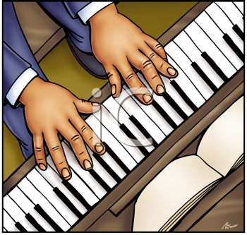 Royalty Free Clipart Image of a Piano Player