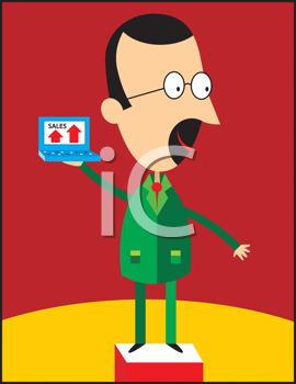 Royalty Free Clipart Image of a Man Holding a Sales Chart