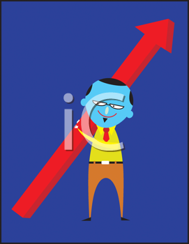 Royalty Free Clipart Image of a Man With an Arrow
