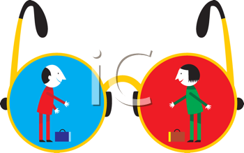 Royalty Free Clipart Image of Two People in Eyeglasses