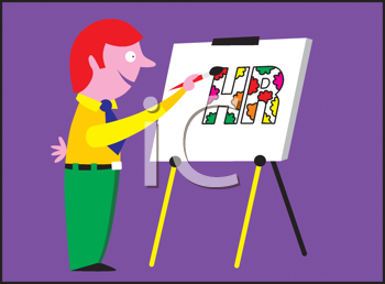 Royalty Free Clipart Image of a Man Painting HR on an Easel
