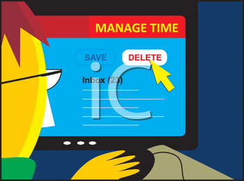 Royalty Free Clipart Image of a Person Looking at a Manage Time Page on Their Computer