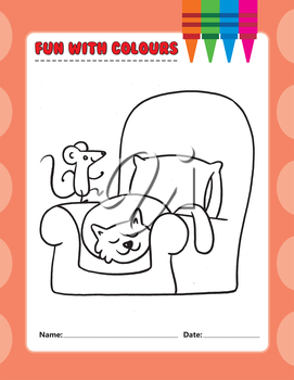 Royalty Free Clipart Image of a Colouring Page of a Cat and a Mouse on a Chair