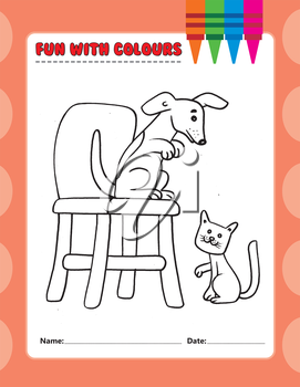 Royalty Free Clipart Image of a Colouring Page With a Dog on a Chair and a Cat