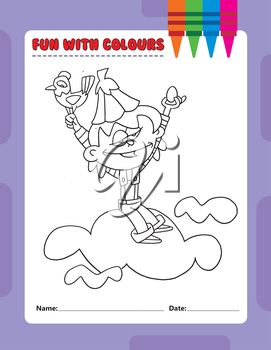 Royalty Free Clipart Image of a Colouring Page of a Boy on a Cloud Holding a Bird and Egg