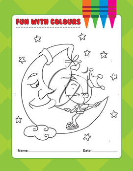 Royalty Free Clipart Image of a Colouring Page of a Child on the Moon