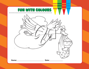 Royalty Free Clipart Image of a Colouring Page of a Stork With a Baby