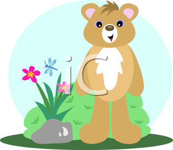Royalty Free Clipart Image of a Bear and a Dragonfly