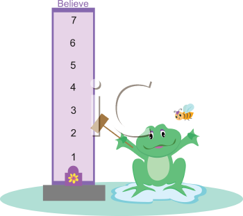 Royalty Free Clipart Image of a Frog With a Believe Scale