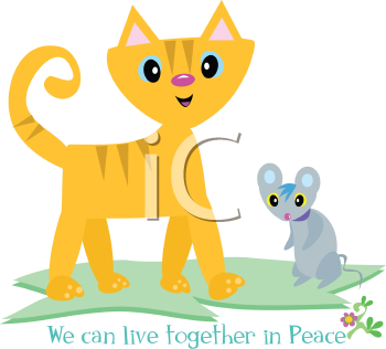Royalty Free Clipart Image of a Cat and Mouse