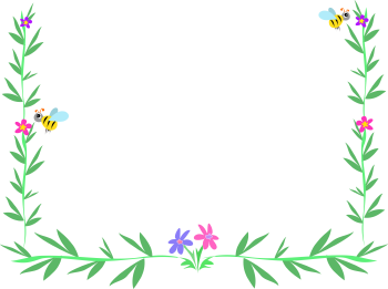 Royalty Free Clipart Image of a Bee and Foliage Frame