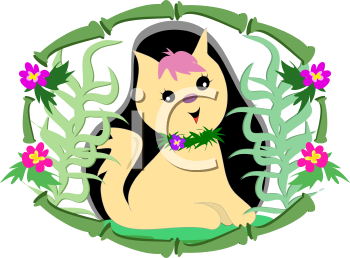 Royalty Free Clipart Image of a Kitten in a Floral Bamboo Border