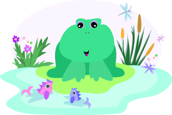 Royalty Free Clipart Image of Frog and Fish at a Pond