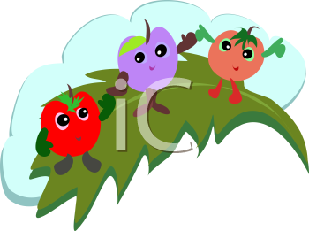 Royalty Free Clipart Image of Fruit on a Leaf