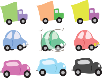 Royalty Free Clipart Image of Cartoon Vehicles