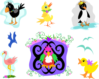 Royalty Free Clipart Image of a Collection of Birds