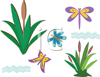 Royalty Free Clipart Image of a Pond Life Mix