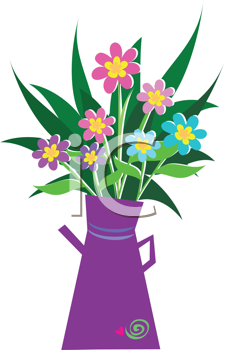 Royalty Free Clipart of a Bouquet of Flowers in a Pitcher