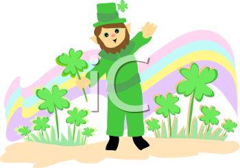 Royalty Free Clipart Image of a Leprechaun and a Rainbow