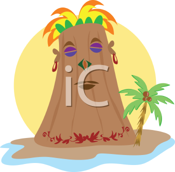 Royalty Free Clipart Image of a Tiki on an Island