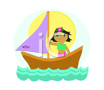 Royalty Free Clipart Image of a Girl in a Sailboat