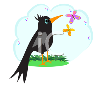 Royalty Free Clipart Image of a Black Bird With Butterflies