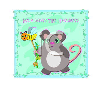 Royalty Free Clipart Image of a Mouse on a Help Save the Honeybees Poster