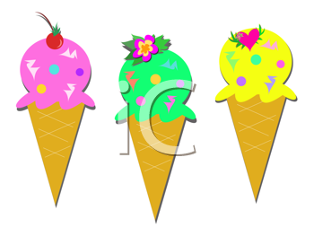Royalty Free Clipart Image of Three Ice Cream Cones