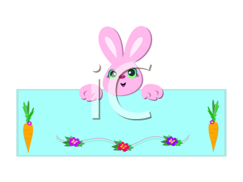 Royalty Free Clipart Image of a Pink Bunny Over a Sign