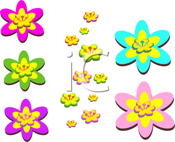 Royalty Free Clipart Image of Floral Elements