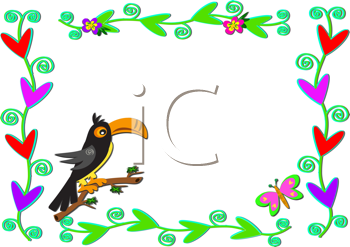 Royalty Free Clipart Image of a Floral Frame Withe a Toucan