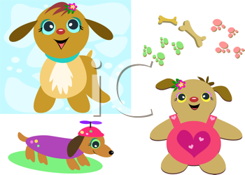 Royalty Free Clipart Image of Dogs