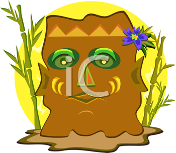 Royalty Free Clipart Image of a Tiki Mask and Bamboo