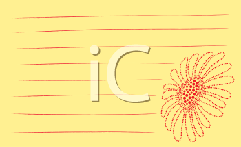 Royalty Free Clipart Image of a Daisy on a Notebook Page