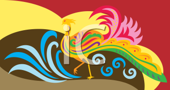 Royalty Free Clipart Image of a Decorative Phoenix