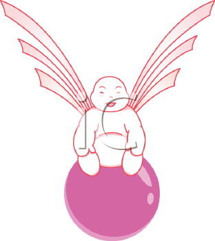 Royalty Free Clipart Image of a Chinese Buddha Angel Sitting on a Ball