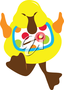 Royalty Free Clipart Image of a Duck Wearing a Bib