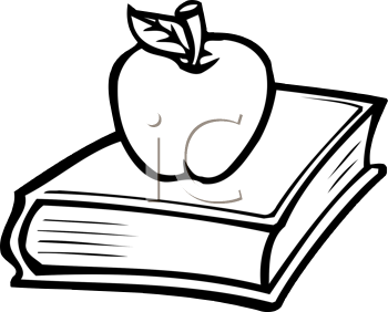 Royalty Free Clipart Image of an Apple on a Book