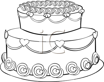 Royalty Free Clipart Image of an Outline of a Cake