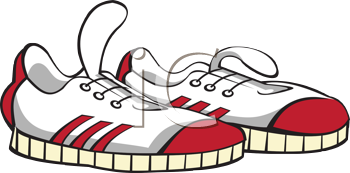 Royalty Free Clipart Image of an Outline of a Pair of Sneakers