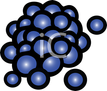 Royalty Free Clipart Image of a Bunch of Blueberries