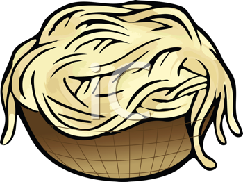 Royalty Free Clipart Image of a Bowl of Pasta