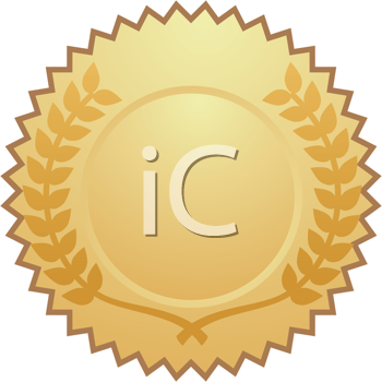 Royalty Free Clipart Image of a Gold Medal