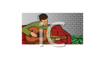 Royalty Free Clipart Image of a Guy With a Guitar
