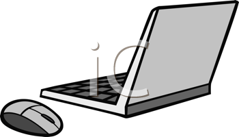 Royalty Free Clipart Image of a Laptop and Mouse