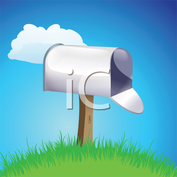 Royalty Free Clipart Image of an Open Mailbox