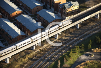 Aerial view of commuter train in Chicago, Illinois.