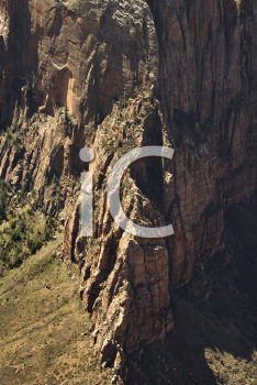 Royalty Free Photo of a Steep Rock Cliff Wall in Zion National Park, Utah, USA