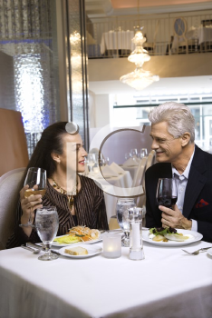 Royalty Free Photo of an Older Couple Dining at a Restaurant