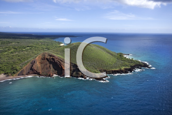 Royalty Free Photo of an Aerial of Maui, Hawaii Coastline With Crater and Cliffs on Pacific Ocean
